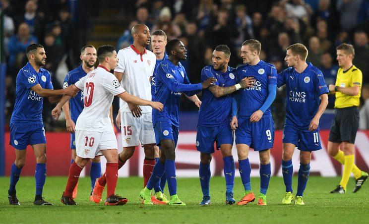 Tempers flared between Samir Nasri and Jamie Vardy, as Leicester beat Sevilla