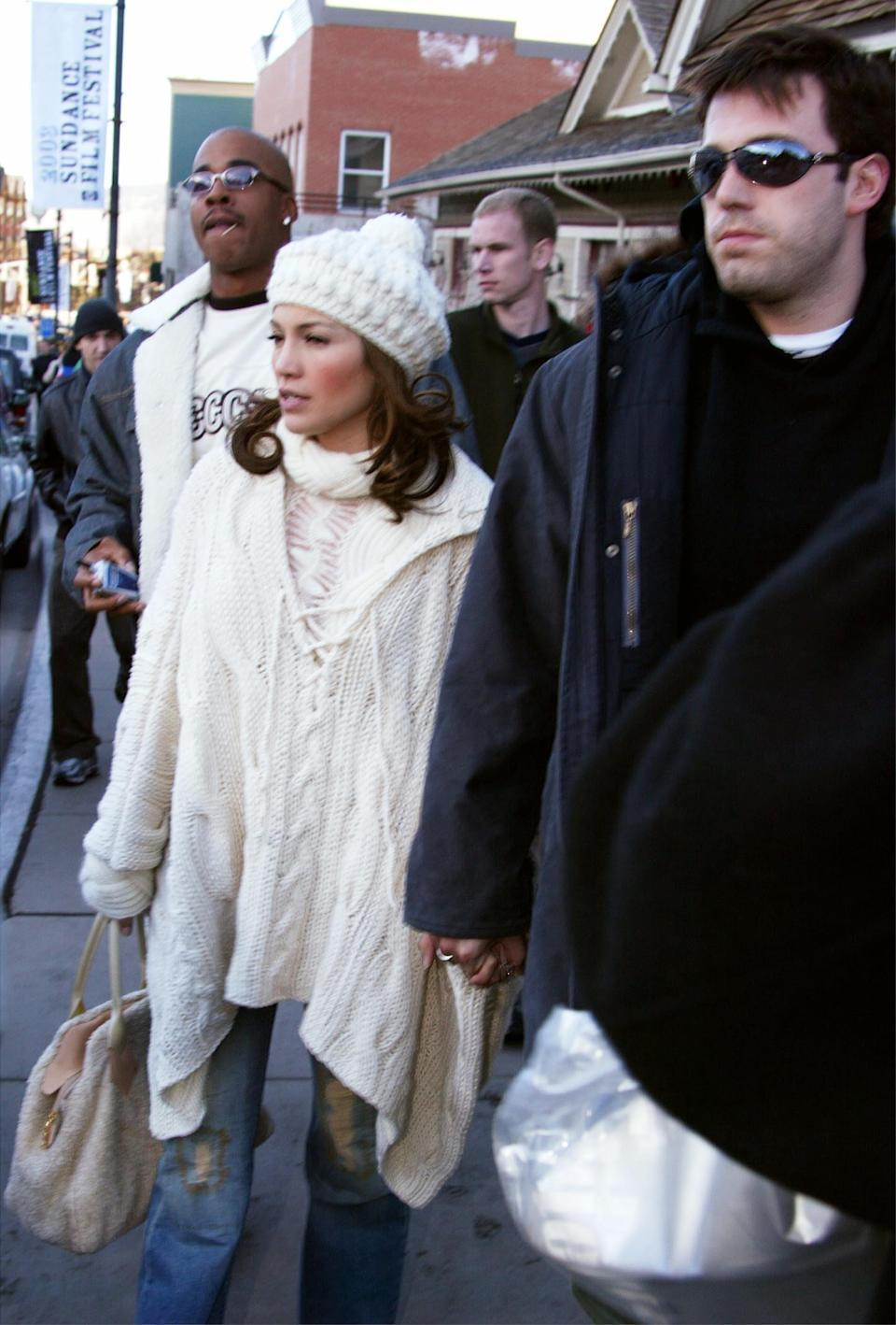 <p>It's Ben's sunglasses for me. The two showed off their winter wear at Sundance in 2003. </p>
