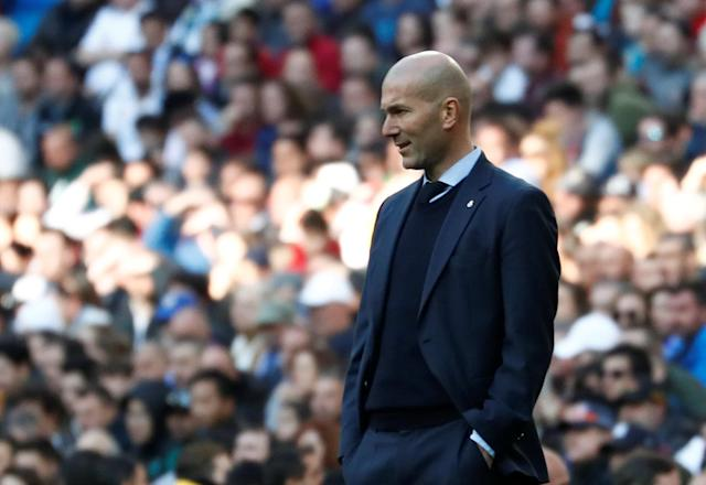 Soccer Football - La Liga Santander - Real Madrid vs Deportivo Alaves - Santiago Bernabeu, Madrid, Spain - February 24, 2018 Real Madrid coach Zinedine Zidane REUTERS/Juan Medina