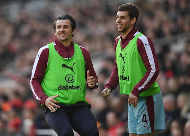 <p>Burnley's Joey Barton and Jon Flanagan look on eagerly </p>