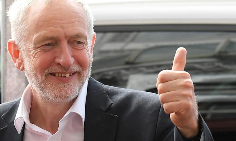 Jeremy Corbyn arrives at the Labour party women's conference in Brighton yesterday.
