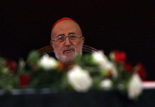 The patriarch of Iraq's Chaldean Catholic church, Emmanuel III Delly, during a funeral in Baghdad on November 2, 2010