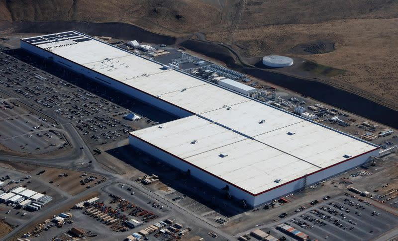 Aerial view of the Tesla Gigafactory near Sparks, Nevada