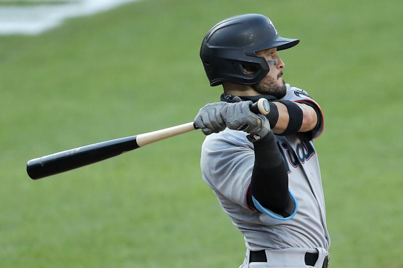 Miami Marlins' Eddy Alvarez swings at a pitch during a game against the Baltimore Orioles on Aug. 5.