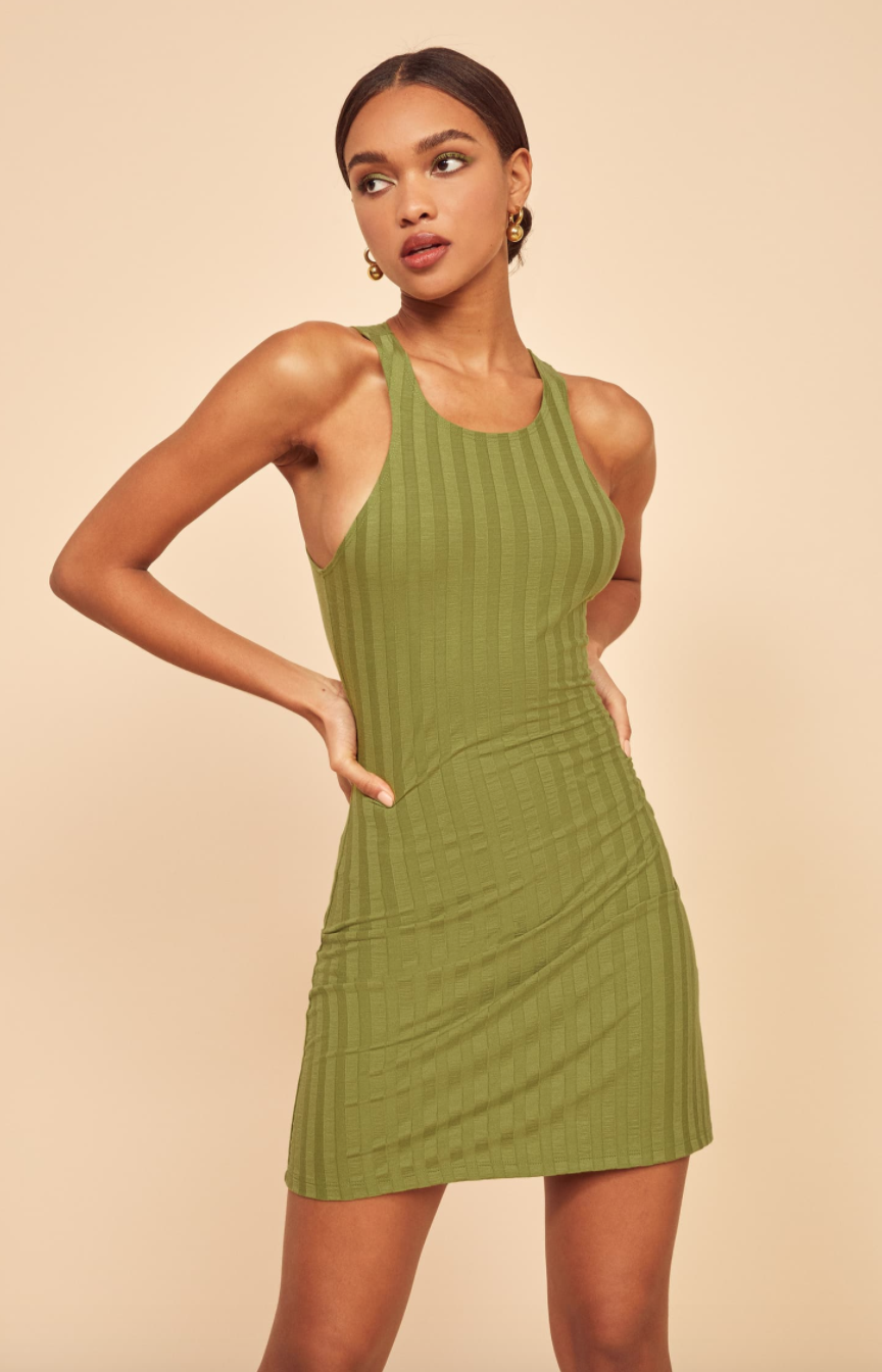 """No sale at Ref this weekend, but if you want to cheat, <a href=""""https://shop.nordstrom.com/sr?origin=keywordsearch&keyword=reformation%20dresses&typein=reform&position=1&sort=Sale"""" rel=""""nofollow noopener"""" target=""""_blank"""" data-ylk=""""slk:head to Nordstrom"""" class=""""link rapid-noclick-resp"""">head to Nordstrom</a> or <a href=""""https://www.shopbop.com/sale-designer-index-reformation/br/v=1/15050.htm?all"""" rel=""""nofollow noopener"""" target=""""_blank"""" data-ylk=""""slk:Shopbop"""" class=""""link rapid-noclick-resp"""">Shopbop</a> to find previous season styles at up to 60% off. <br> <br> <strong>Reformation</strong> Mel Ribbed Body-Con Minidress, $, available at <a href=""""https://go.skimresources.com/?id=30283X879131&url=https%3A%2F%2Fwww.thereformation.com%2Fproducts%2Fmel-dress"""" rel=""""nofollow noopener"""" target=""""_blank"""" data-ylk=""""slk:Reformation"""" class=""""link rapid-noclick-resp"""">Reformation</a>"""