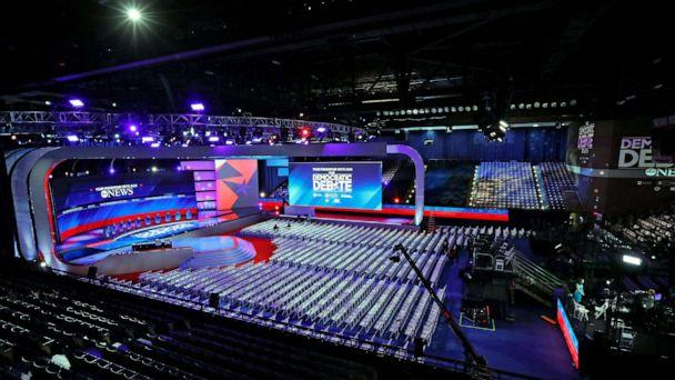 PHOTO: The stage is set for the Democratic debate at Texas Southern University's Health & PE Center in Houston, Sept. 12, 2019. (Heidi Gutman/Walt Disney Television)