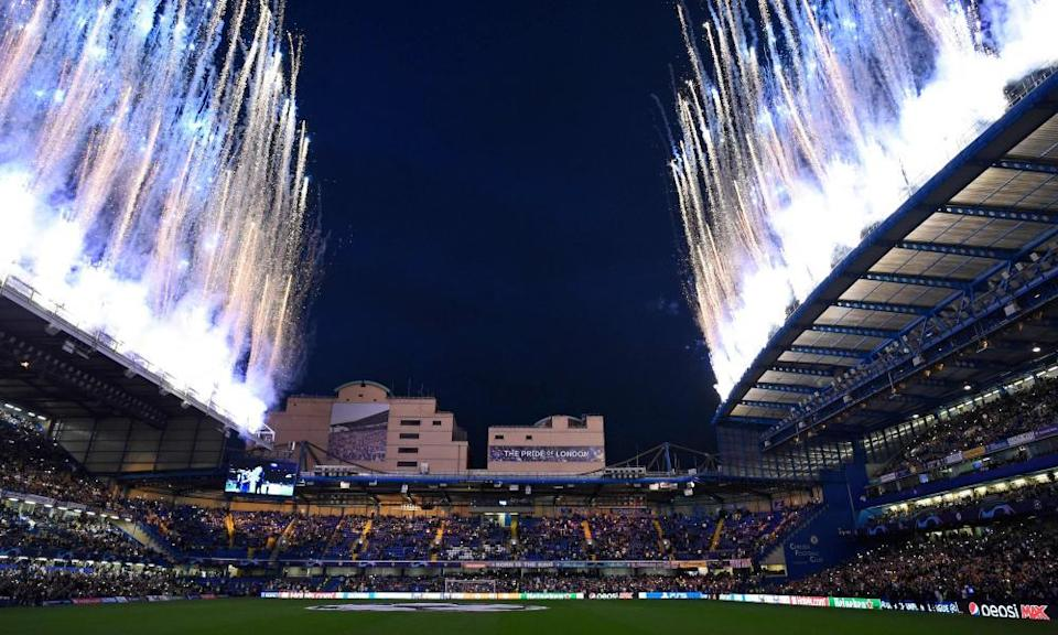 Chelsea celebrated last season's Champions League success with fireworks before kick-off at Stamford Bridge.