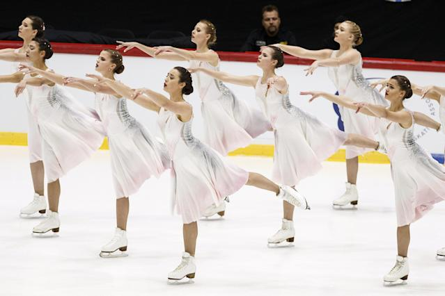 ISU World Synchronized Skating Championships 2019 - Short Program - Helsinki Ice Hall, Helsinki, Finland - April 12, 2019. Russia's Team Paradise competes. Lehtikuva/Roni Rekomaa via REUTERS ATTENTION EDITORS - THIS IMAGE WAS PROVIDED BY A THIRD PARTY. NO THIRD PARTY SALES. NOT FOR USE BY REUTERS THIRD PARTY DISTRIBUTORS. FINLAND OUT. NO COMMERCIAL OR EDITORIAL SALES IN FINLAND.