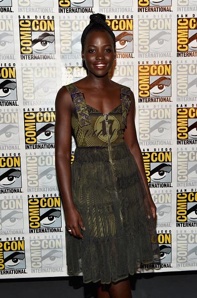 <p>Lupita wore an eclectic green dress as she is confirmed for the upcoming 'Black Panther' movie. Alberto E. <i>[Photo: Getty]  </i></p>