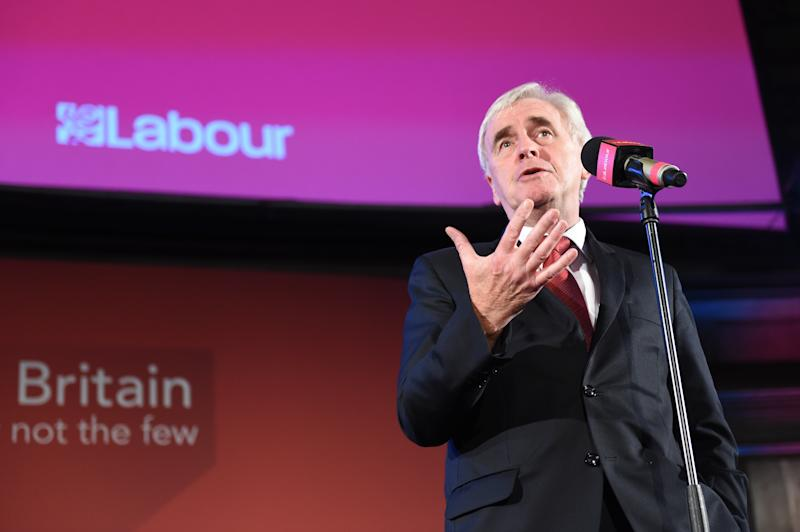 Shadow Chancellor John McDonnell speaks during a post-Queen's Speech rally in Westminster, London.