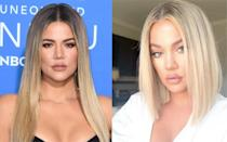 <p><strong>When:</strong> 27 July 2018<br>The Kardashian/Jenner sisters are always trialling out new hairstyles so it came as no surprise when Khloe debuted a slick 'lob' on Instagram.<em> [Photo: Getty/Instagram]</em> </p>