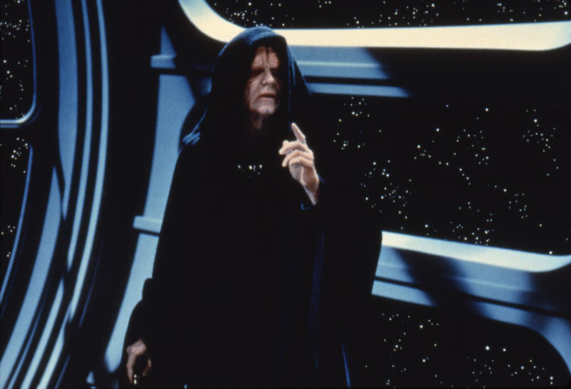 Scottish actor Ian McDiarmid on the set of Star Wars: Episode VI - Return of the Jedi directed by Welsh Richard Marquand. (Photo by Sunset Boulevard/Corbis via Getty Images)