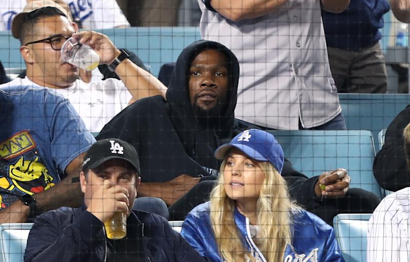 Kevin Durant attends The Los Angeles Dodgers Game at Dodger Stadium