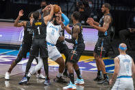 Los Angeles Lakers center Andre Drummond (2) is defended by several Brooklyn Nets during the first half of an NBA basketball game, Saturday, April 10, 2021, in New York (AP Photo/Corey Sipkin)