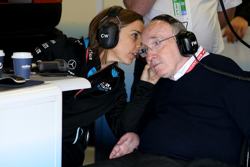 NORTHAMPTON, ENGLAND - JULY 12: Sir Frank Williams and Williams Deputy Team Principal Claire Williams talk in the Williams garage during practice for the F1 Grand Prix of Great Britain at Silverstone on July 12, 2019 in Northampton, England. (Photo by Charles Coates/Getty Images)