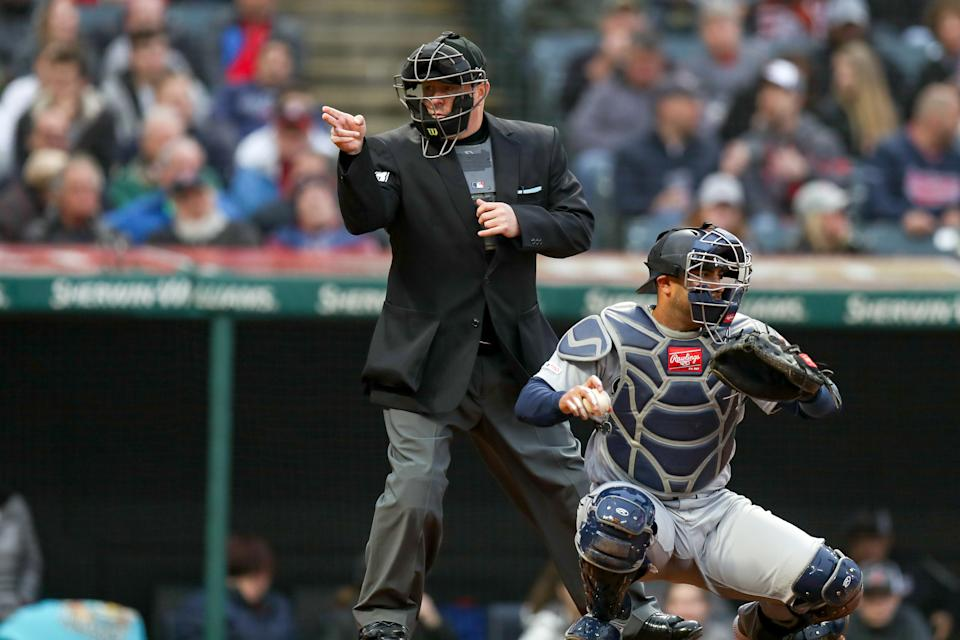 CLEVELAND, OH - MAY 03: Home plate umpire Todd Tichenor (13) class a strike on Cleveland Indians outfielder Jordan Luplow (8) (not pictured) during the second inning of the Major League Baseball game between the Seattle Mariners and Cleveland Indians on May 3, 2019, at Progressive Field in Cleveland, OH. (Photo by Frank Jansky/Icon Sportswire via Getty Images)