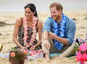 <p>Meghan and Harry sit with a group of children on Bondi beach in Sydney, Australia. </p>
