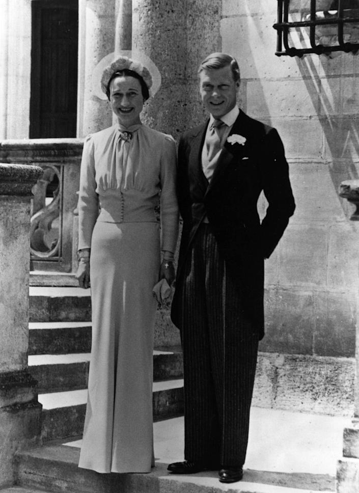 The Duke and Duchess of Windsor on their wedding day in 1937, a year after his abdication caused a constituional crisis and a life-long rift with the British royal family (Getty Images)