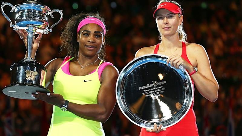 Serena Williams, pictured here after beating Maria Sharapova in the 2015 Australian Open final.