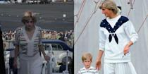 <p>As a mother on the go, Princess Diana often favored boxier silhouettes, such as a pleated skirt and drop waisted sweater. Although <em>The Crown </em>did not recreate one of Diana's exact, outfits they took note of her style choices to build upon her wardrobe for the show. The result? The look Emma Corrin is seen wearing when Diana leaves for Australia.</p>