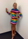 <p>For an appearance on the 'Jonathon Ross Show', the 36-year-old donned a striking rainbow-inspired dress by King of the Sequins, Ashish. The get-up amassed over 300,000 likes on Instagram but will unfortunately set you back a hefty £1,400. </p>