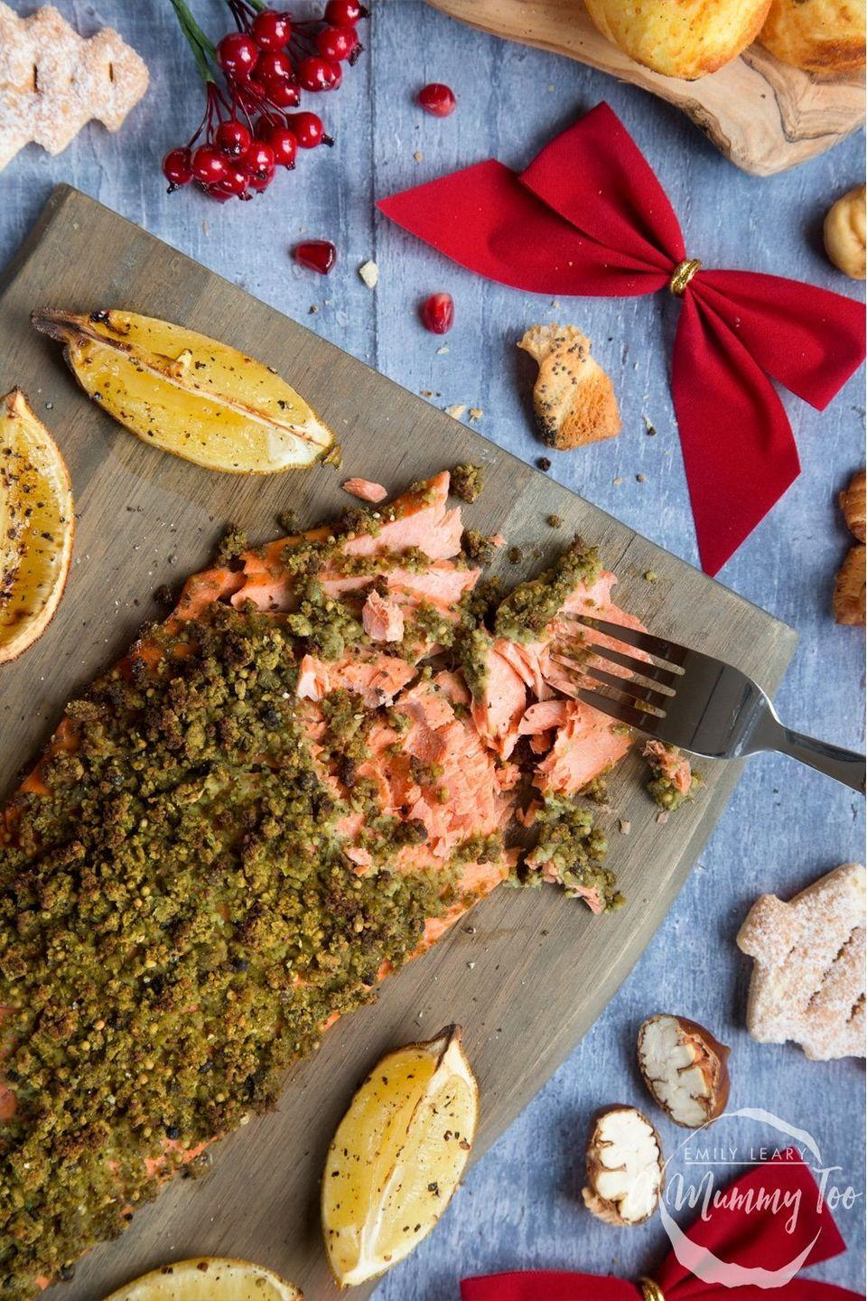 """<p>Get the <a href=""""https://www.amummytoo.co.uk/chestnut-and-pepper-crusted-salmon-fillet/"""" rel=""""nofollow noopener"""" target=""""_blank"""" data-ylk=""""slk:Chestnut & Pepper Crusted Salmon Fillet"""" class=""""link rapid-noclick-resp"""">Chestnut & Pepper Crusted Salmon Fillet</a> recipe.</p><p>Recipe from <a href=""""https://www.amummytoo.co.uk/"""" rel=""""nofollow noopener"""" target=""""_blank"""" data-ylk=""""slk:A Mummy Too"""" class=""""link rapid-noclick-resp"""">A Mummy Too</a>.</p>"""