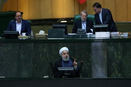 Iranian President Hassan Rouhani speaks during a parliamentary session in Tehran, Iran August 28, 2018. President Official Website/Handout via REUTERS