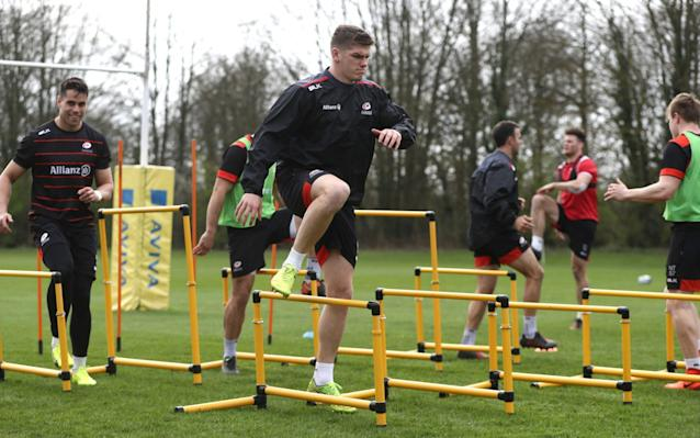 <span>Farrell and his Saracens teammates go through their paces in training</span> <span>Credit: Getty Images </span>