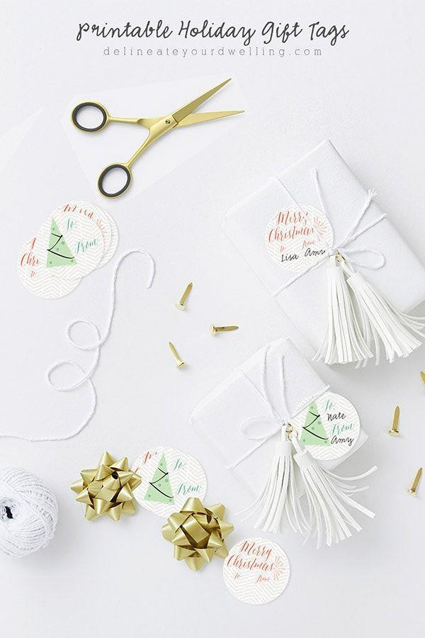 """<p>For sophisticated packaging that works just as well for a wedding shower as it does for a birthday, use white paper and top with a swingy leather tassel secured with yarn. </p><p>Get the tutorial at <a href=""""https://www.delineateyourdwelling.com/printable-holiday-gift-tags/"""" rel=""""nofollow noopener"""" target=""""_blank"""" data-ylk=""""slk:Delineate Your Dwelling"""" class=""""link rapid-noclick-resp"""">Delineate Your Dwelling</a>.</p><p><a class=""""link rapid-noclick-resp"""" href=""""https://www.amazon.com/ZOONAI-Leather-Tassels-Keychain-Hanging/dp/B01LH3NQUO/?tag=syn-yahoo-20&ascsubtag=%5Bartid%7C10072.g.34015639%5Bsrc%7Cyahoo-us"""" rel=""""nofollow noopener"""" target=""""_blank"""" data-ylk=""""slk:SHOP TASSEL"""">SHOP TASSEL</a> </p>"""