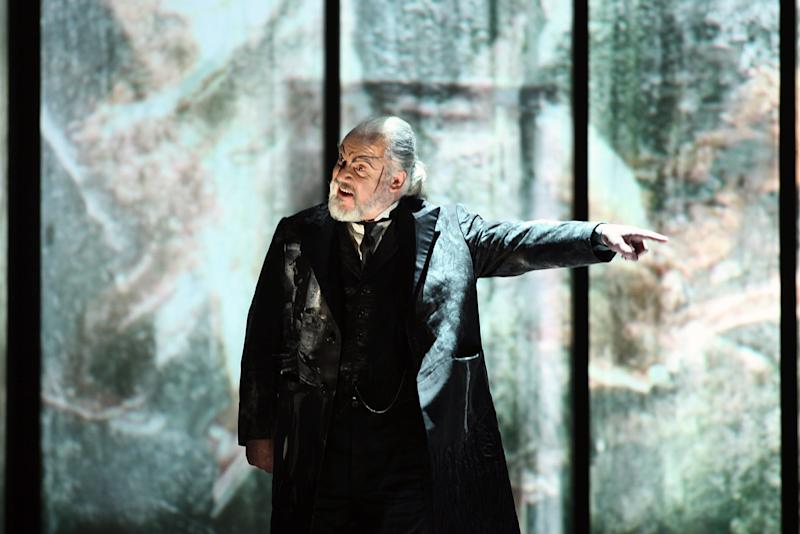"""This photo provided by the press office the La Scala Opera Theatre shows John Tomlinson, of Britain, performing in the role of Hunding during the rehearsals of Richard Wagner's """"Die Walkure"""", in Milan, Italy, Friday, Dec. 3, 2010. The opera season opens at La Scala on Dec. 7 with Wagner's opera, directed by Daniel Barenboim. (AP Photo/Brescia e Amisano, Courtesy of La Scala, ho) EDITORIAL USE ONLY"""