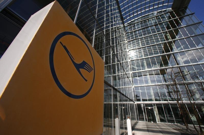A Lufthansa emblem is pictured at the company headquarters ahead of a news conference in Frankfurt