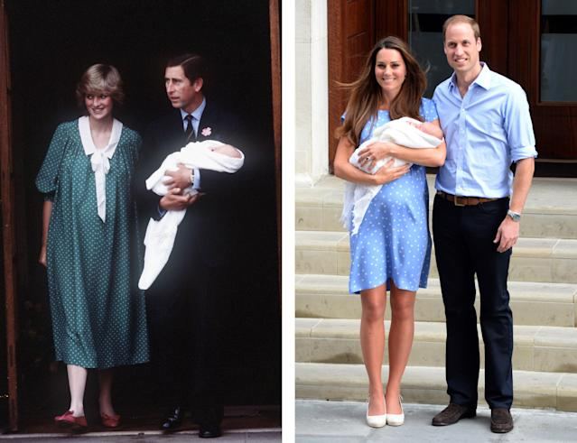 <span>Following the birth of Prince George, the Duchess of Cambridge may have gotten sartorial inspiration from Princess Diana in a polka dot dress by Jenny Packham. (Photos: Getty Images)</span>