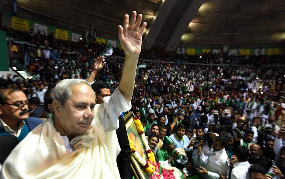 NEW DELHI, INDIA - JANUARY 8: Biju Janata Dal (BJD) President and Odisha Chief Minister Naveen Patnaik waves during the sit-in protest to demand an increase in the minimum support price (MSP) for paddy, at Talkatora Stadium, on January 8, 2019 in New Delhi, India. (Photo by Sonu Mehta/Hindustan Times via Getty Images)