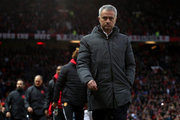 Jose Mourinho on the touchline at Old Trafford