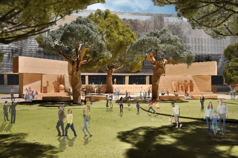 This model image, provided by Eisenhower Memorial Commission, shows the proposed Dwight D. Eisenhower Memorial to be built in Washington. The future of a planned memorial honoring President Dwight D. Eisenhower was thrown into doubt Tuesday as lawmakers questioned the project's design and cost and Ike's family called again for the memorial project to be redesigned. A House panel hosted a hearing on the 14-year-old project, which has secured a site for the memorial at the foot of Capitol Hill near the National Air and Space Museum. Planners could lose that space, though, without an extension soon from Congress. (AP Photo/Eisenhower Memorial Commission)