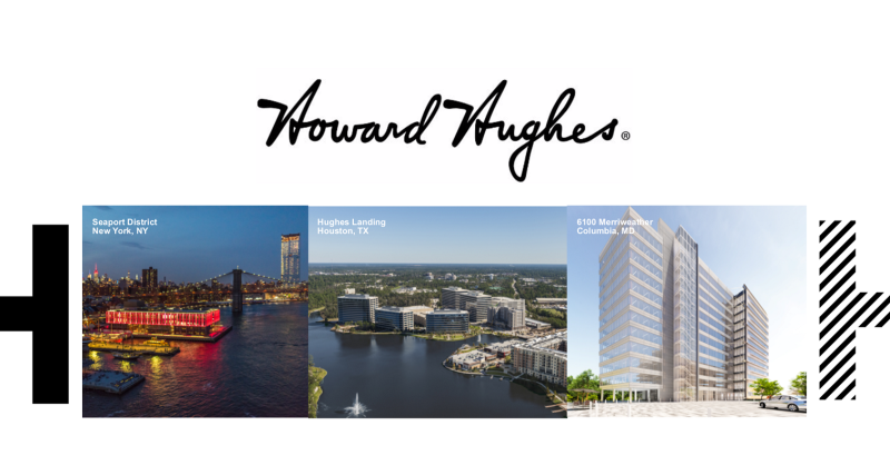 Howard Hughes logo with three properties highlighted.