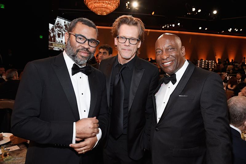 Jordan Peele, Kevin Bacon and Singleton at the 70th Annual Directors Guild of America Awards. Image via Getty Images.