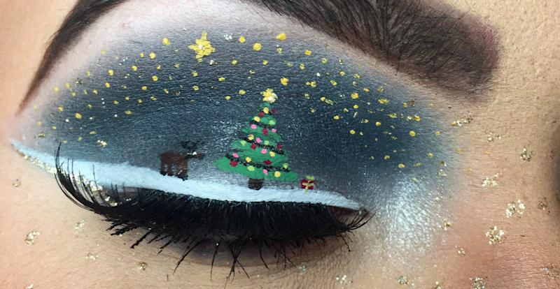 This makeup artist spent 4 hours doing her Christmas makeup look, but it was well worth it