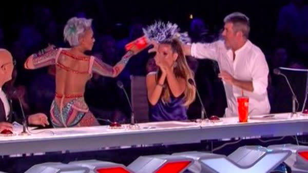 Mel B Throws Water At Simon Cowell, Exits After His Marriage Jab On 'AGT'