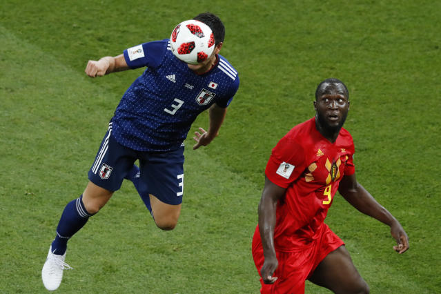<p>Japan's defender Gen Shoji (L) heads the ball next to Belgium's forward Romelu Lukaku during the Russia 2018 World Cup round of 16 football match between Belgium and Japan at the Rostov Arena in Rostov-On-Don on July 2, 2018. (Photo by Jack GUEZ / AFP) </p>