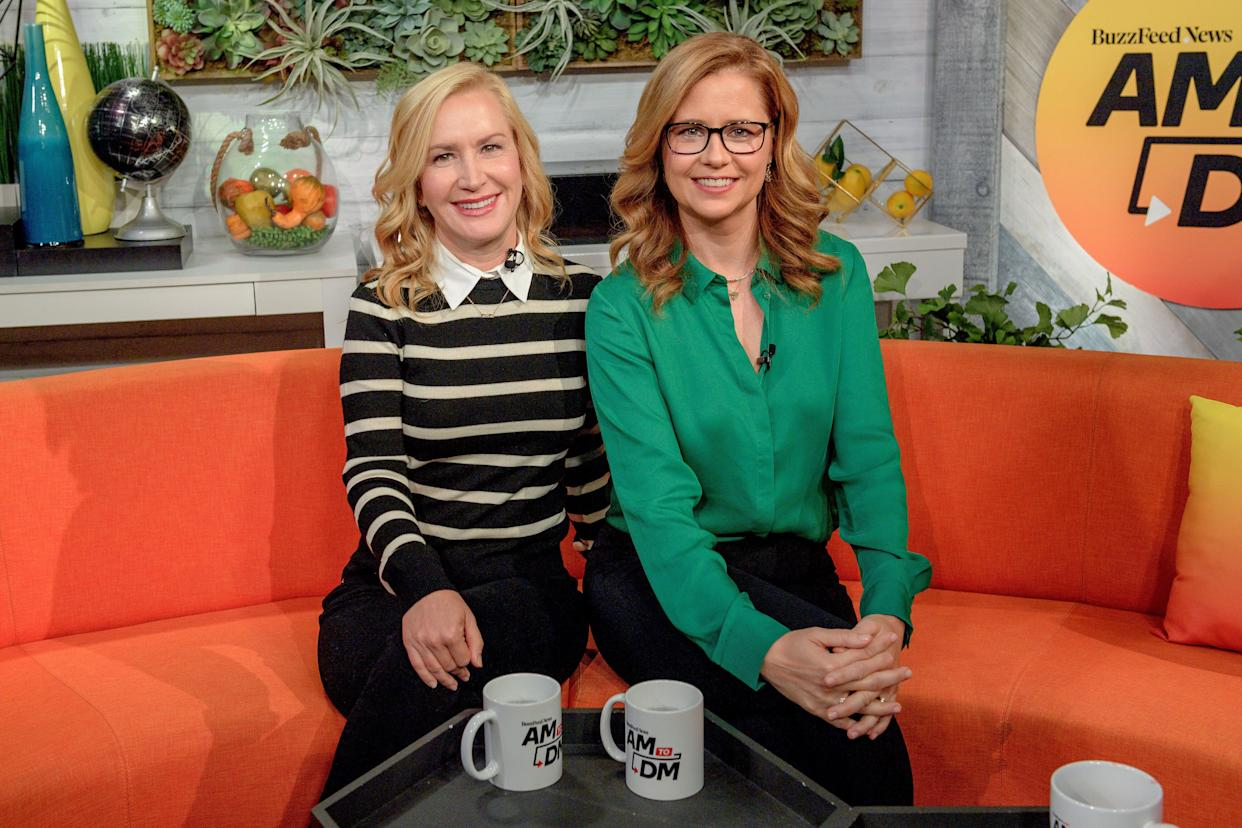 """Angela Kinsey and Jenna Fischer on BuzzFeed's """"AM to DM"""" Thursday. (Photo: Roy Rochlin via Getty Images)"""