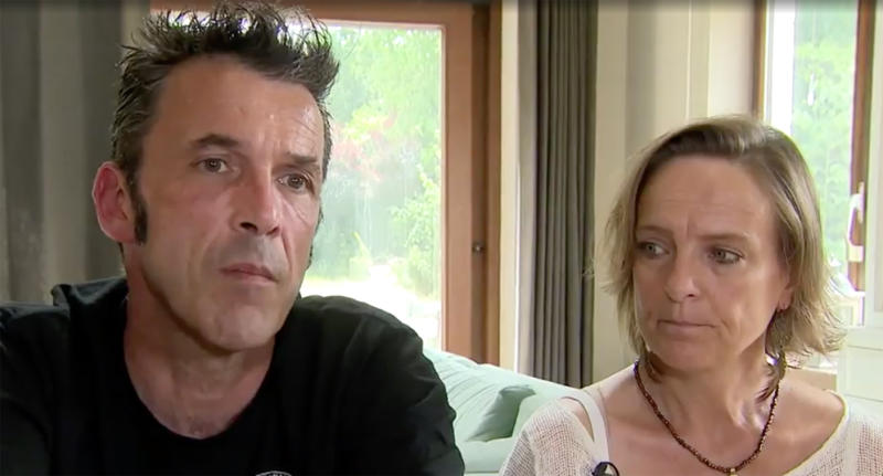 Theo Hayez's parents Laurent Hayez and Vinciane Delforg are seen here in a still from a Belgian television interview.