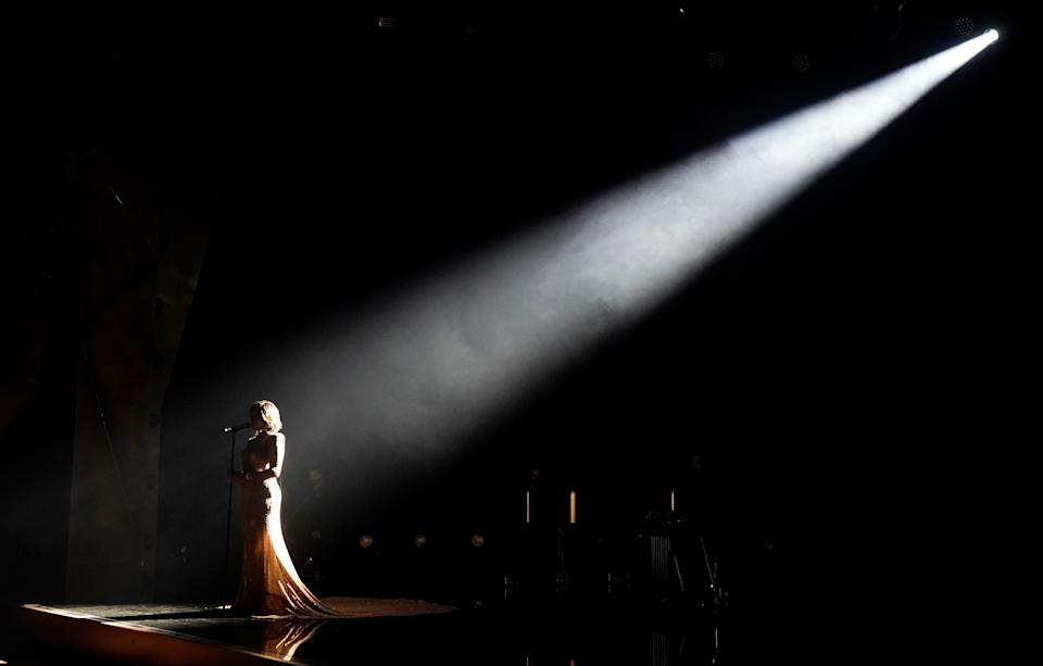 """Mickey Guyton performs her nominated song """"Black Like Me"""" at the 63rd annual Grammy Awards in Los Angeles on March 9."""