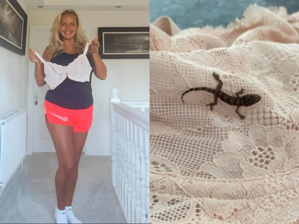 Lisa Russell, 47, had no idea the lizard was in her bra. (SWNS)