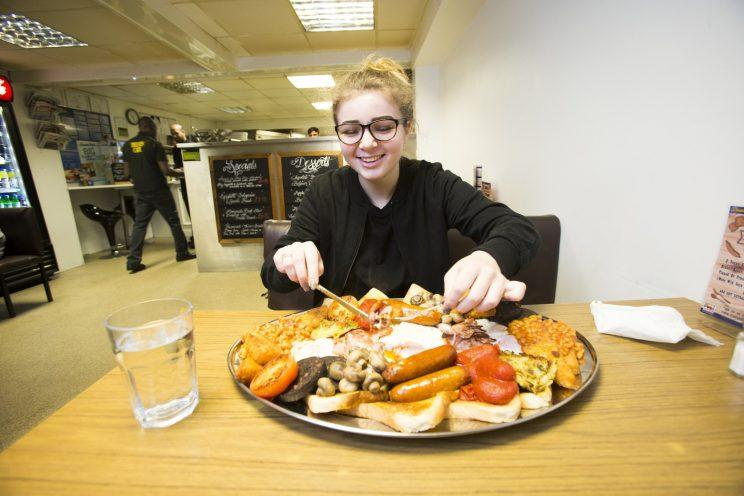 A gut-busting breakfast challenge served on a silver platter has only been beaten by one person
