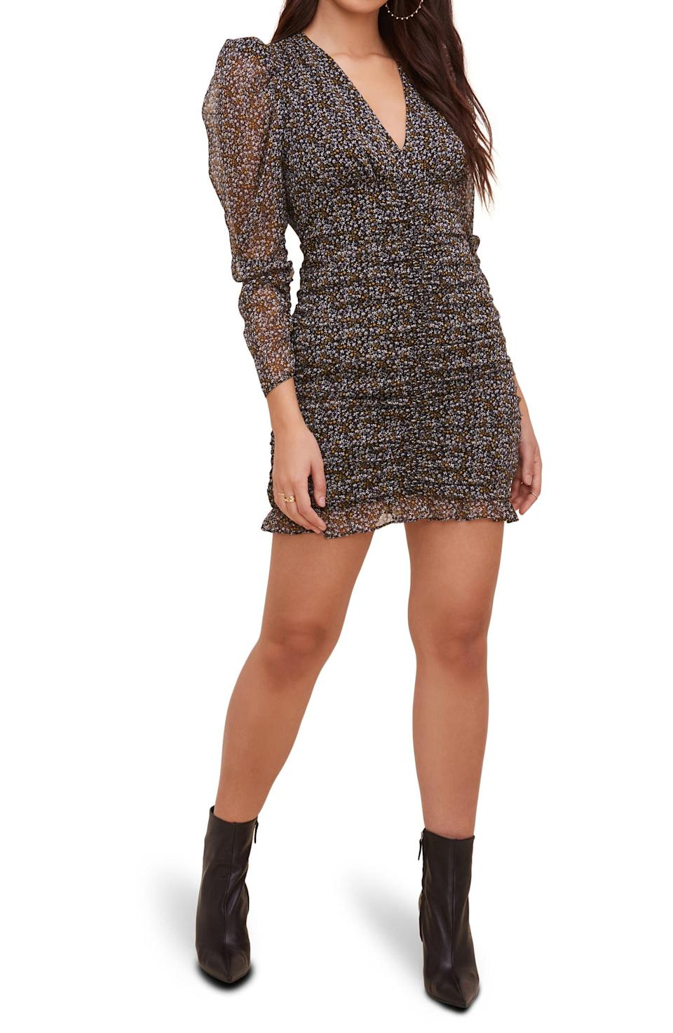 ASTR the Label Ruched Long Sleeve Minidress. Image via Nordstrom.
