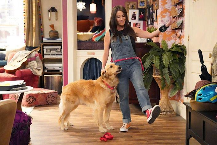 "Moon Frye in overalls with a dog on the new ""Punky Brewster."""