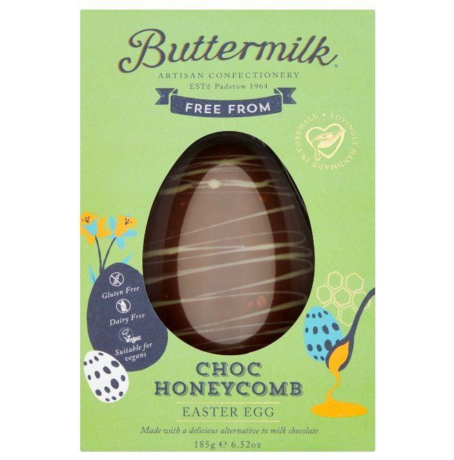 """<p>Free from dairy, gluten and wheat, this chocolate honeycomb creation promises to be chocolatey and caramel-y, without any of the diary. </p><p>Buttermilk Free From Choc Honeycomb Easter Egg, £6, Sainsbury's</p><p><a class=""""link rapid-noclick-resp"""" href=""""https://www.sainsburys.co.uk/shop/ProductDisplay?storeId=10151&productId=1246734&urlRequestType=Base&catalogId=10122&langId=44"""" rel=""""nofollow noopener"""" target=""""_blank"""" data-ylk=""""slk:BUY NOW"""">BUY NOW</a></p>"""
