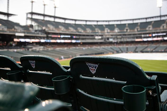 Rain delay at a Tigers game against Seattle Mariners at Comerica Park in Detroit, Tuesday, June 8, 2021.