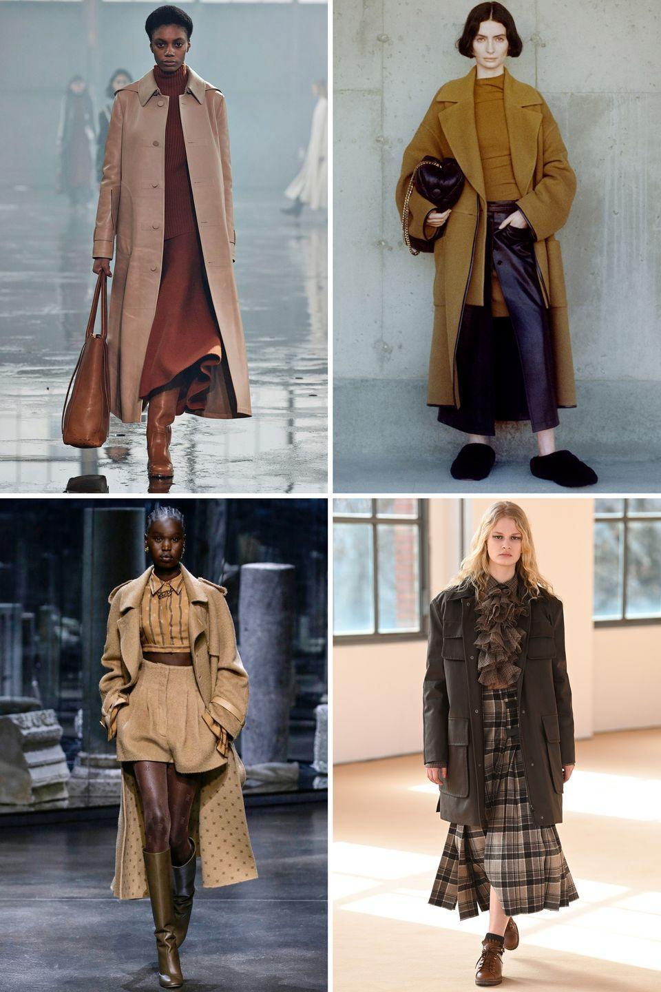 <p>Monochromatic earth tones worn head-to-toe grounded daywear with a warmth and ease that looks and feels luxurious. </p><p><strong>Insider tip:</strong> Try mixing textures in the same color family and lighter and darker tones for a more dimensional take on the trend.</p><p><em>Pictured: Gabriela Hearst, Proenza Schouler, Fendi, Max Mara</em></p>